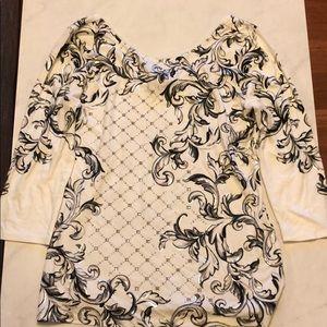 White House black market printed embellished top